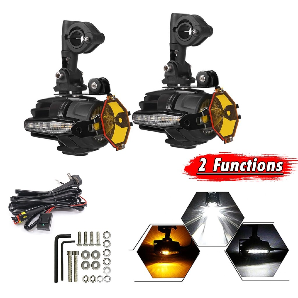 Car Lights - LED Adventure Guards Auxiliary Fog Light W/ Side Light For BMW R1200GS F800GS - Replacement Parts