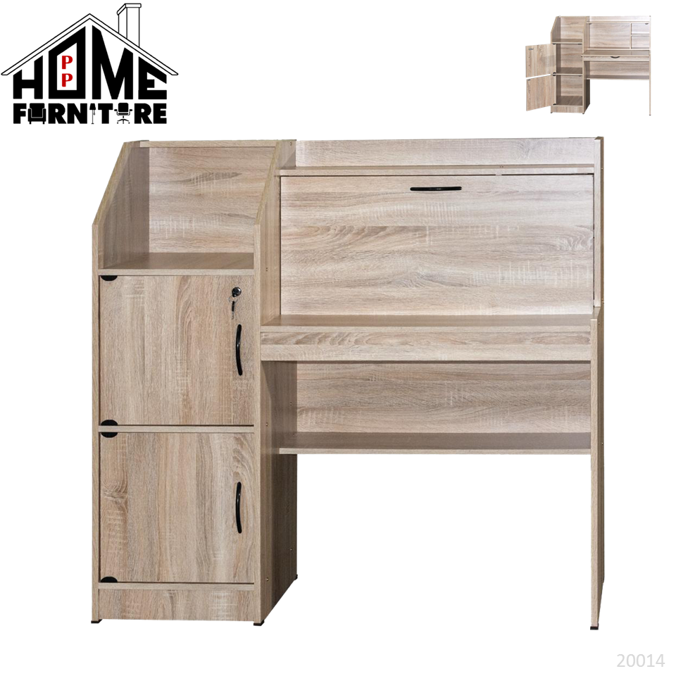 PP HOME Study Table with shelf & locker drawer/Writing table/Working table /PC table/ Student table/Home office table/Multipurpose table/Desk/Computer table/Destop/laptop/Meja belajar/Meja tulis/Meja kerja/komputer电脑桌/书桌/工作桌/读书桌/办公桌20015