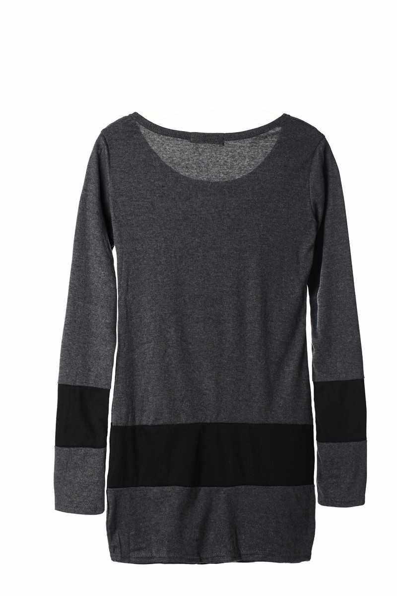 New Casual Women Dress Long Sleeve Double Breasted Stripe One-piece Mini Dress Dark Gray (Gy)
