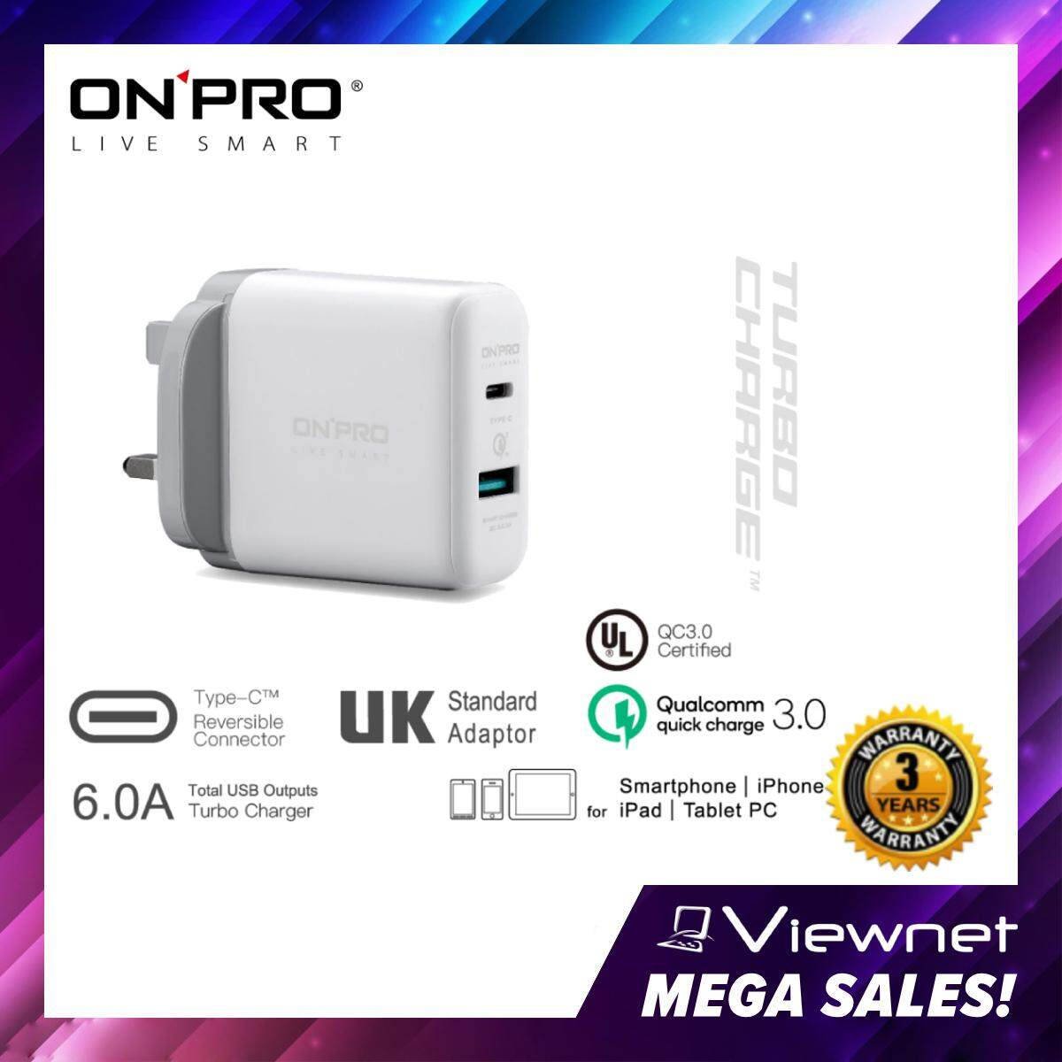 Onpro UC-C6QC30 6A Quick Charge 3.0 Turbo Charger (Black/White)