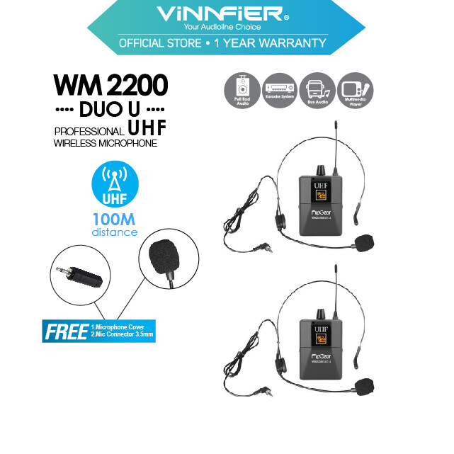 Vinnfier FlipGear WM 2200 DUO U Professional Universal UHF Handsfree Headsets Wireless Microphones With Rechargeable Transmitter For Headphones