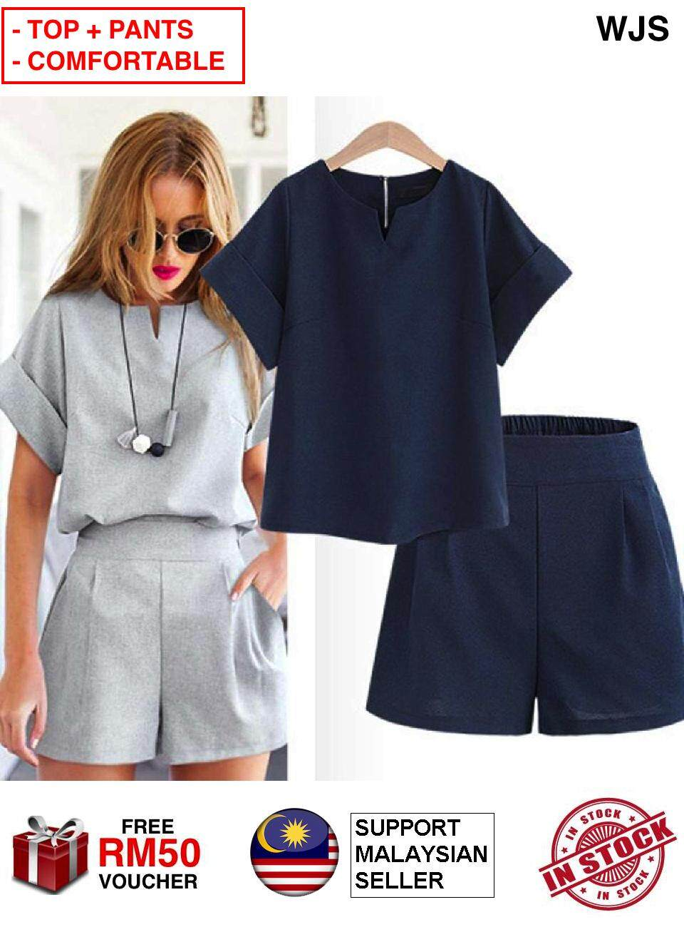 (TOP + PANTS) WJS 2pc 2 pcs Jumpsuit Trendy Casual Plus Size Summer Wear New Style Wind Dress Short-Sleeved Top with Short Pant Two-Piece Set Jump Suit Blouse with Pants BLUE GREY Size XL - 5XL [FREE RM 50 VOUCHER]