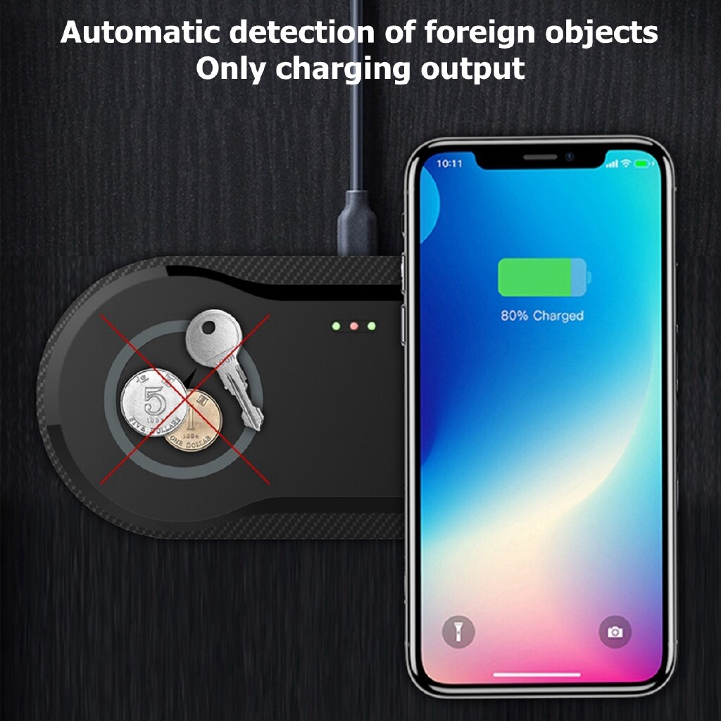 Chargers - 2 In1 20W Qi WIRELESS Fast Charger Pad Charging For iPh11/Pro Max Galaxy S10 - BLACK / WHITE