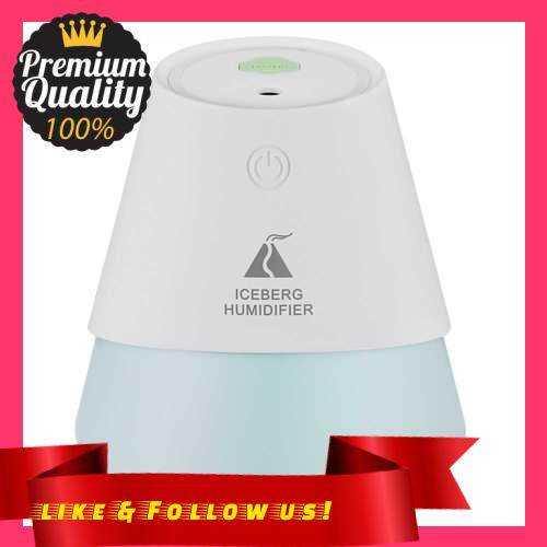 People\'s Choice USB Three in One Iceberg Cold Fog Humidifier with Small Fan Night Light Car Desk Mini Humidifier (White)