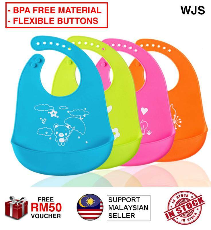 (FOOD GRADE SILICONE) WJS Silicone Waterproof Baby Bib with Buttons & Holder Pocket BPA Free Toddler Bibs with Pocket Groove Baby Apron BLUE PINK GREEN ORANGE [FREE RM 50 VOUCHER]