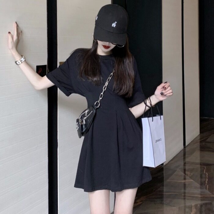 (READYSTOCK) WOMEN SIMPLE CASUAL SHORT SLEEVED BACKLESS DRESS