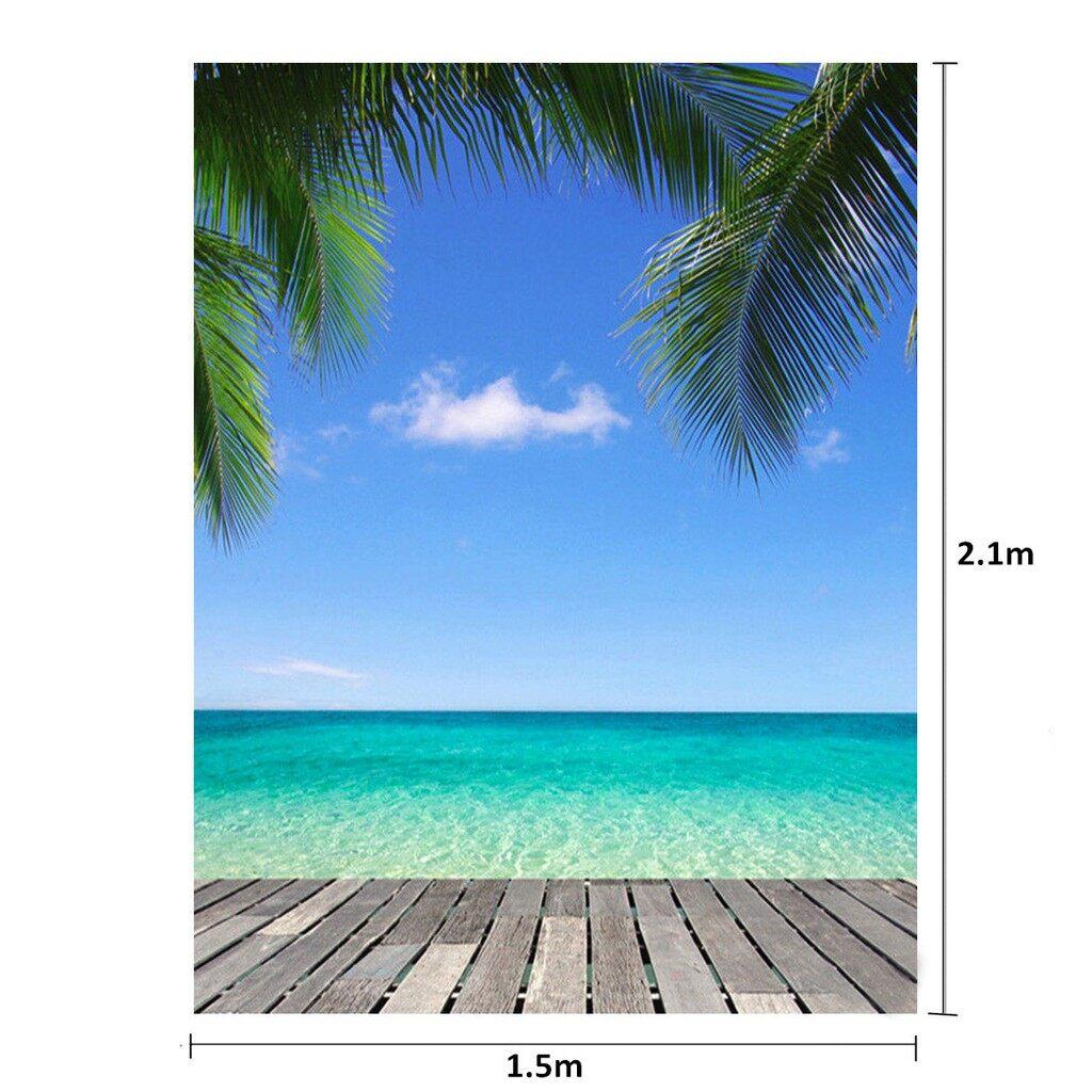 Lighting and Studio Equipment - 5x7Ft Photography Background Seaside Beach Sky Tree Scenery Backdrop Studio Prop - Camera Accessories