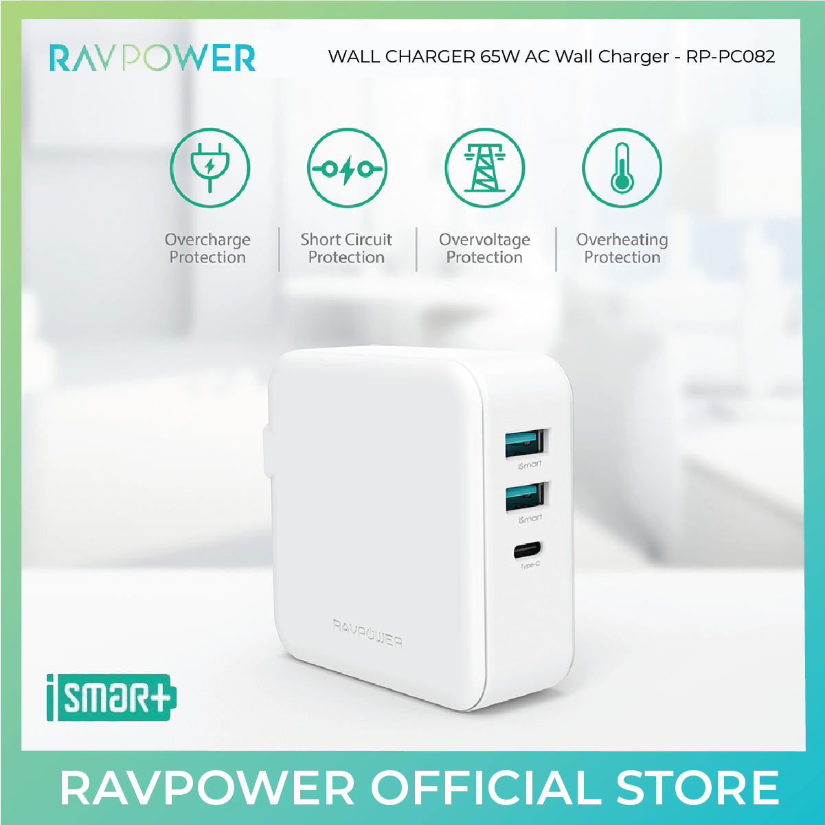 RAVPower RP-PC082 65W AC Wall Charger PD 65W+QC 3.0 Offline