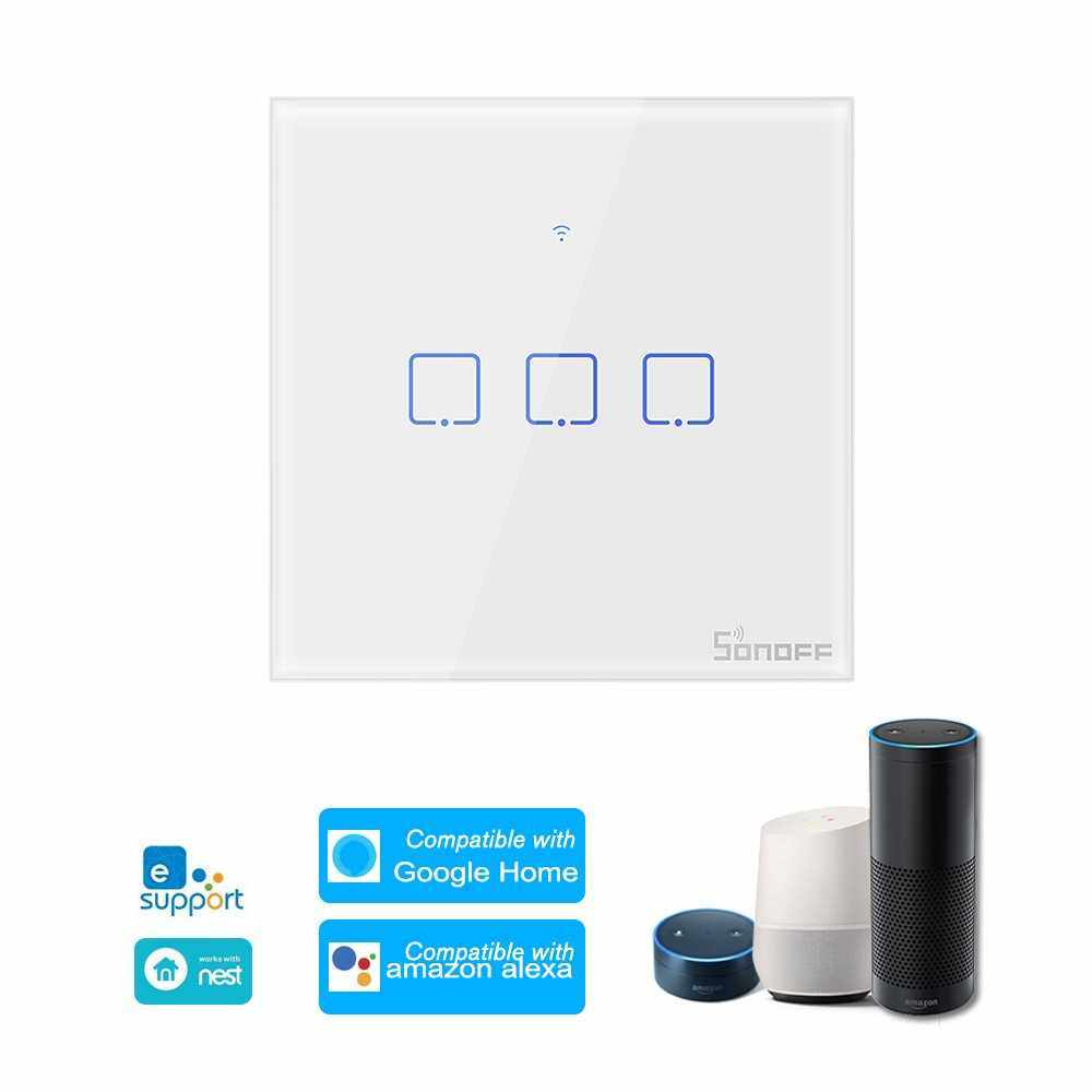 SONOFF T0UK3C-TX 3 Gang Smart WiFi Wall Light Switch APP/Touch Control Timer UK Standard Panel Smart Switch Compatible with Google Home/Nest & Alexa (White)