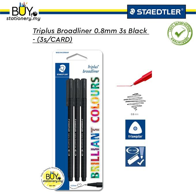 Staedtler Triplus Broadliner 0.8mm Black - (3s/CARD)