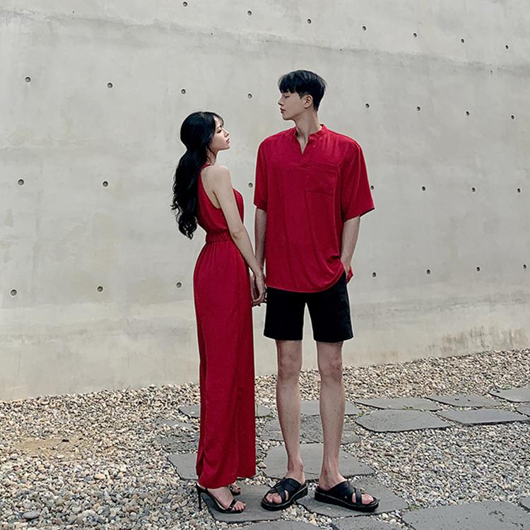 (PRE-ORDER) COUPLE WEAR HANGING NECK DRESS + SHIRT BEACH WEAR LLF (ETA: 2021-09-23)