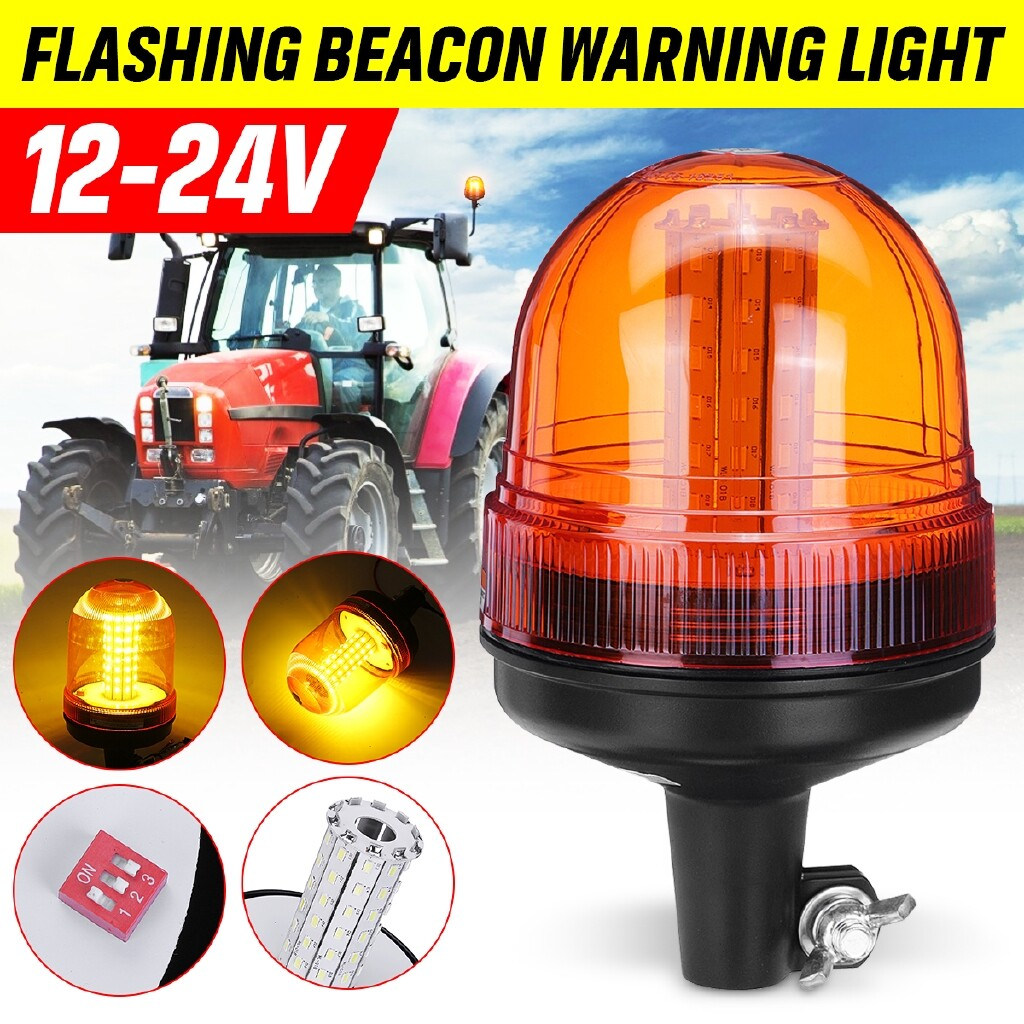 Car Lights - 60 LED 12W Roof Rotating Flashing Beacon Strobe Warning Light Amber Lamp 12-24V - Replacement Parts