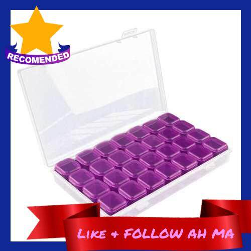 Best Selling 28 Grids Transparent Storage Lastics Box Shatter-Resistant Individual Manicure Jewelry Storage Box With Cover (Purple)