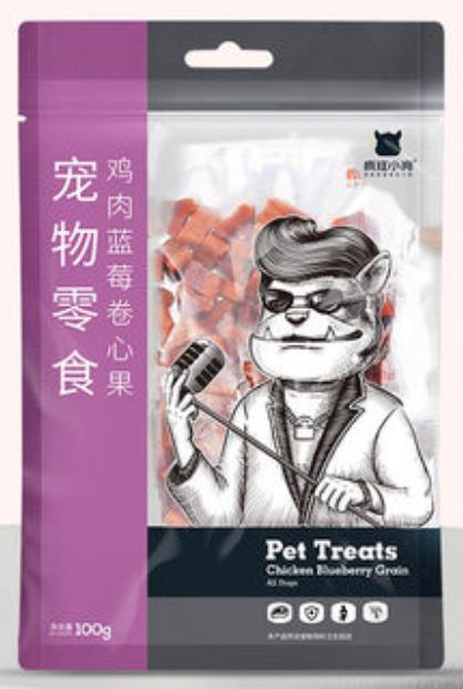 Crazy Dog【疯狂的小狗】Dog Treats Chicken Grain / Pet Training Snacks (Blueberry Flavor) 鸡肉蓝莓卷心果 100g