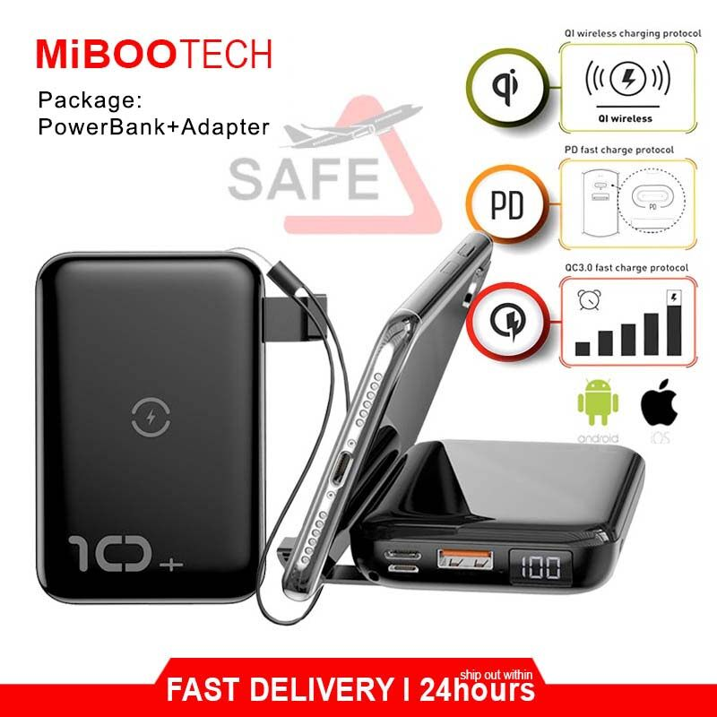 [Miboo] Original 10000mAh PD Quick Charge 3.0 Baseus F10W Wireless Fast Charging PowerBank For All Phone New IPhone / Samsung / Huawei / Oppo - Package PWB + Adapter - Black