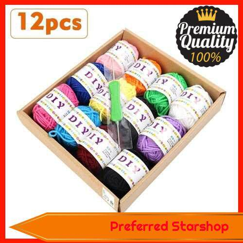 12pcs/Pack Woolen Yarn DIY Soft Woven Thread Cotton Cloth Hand Knitting Bright Color for knitwear Fashion,Sweaters,scarf,Blanket (Standard)