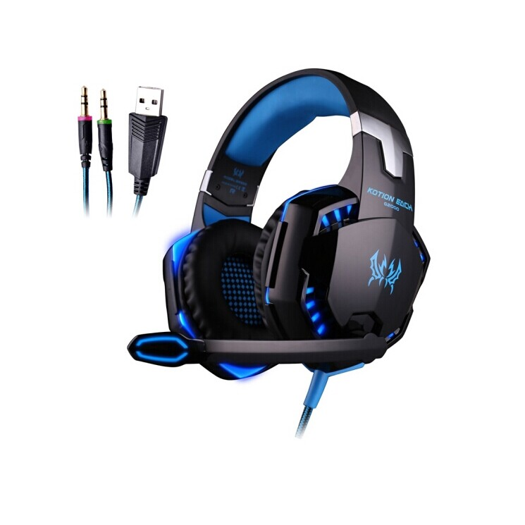 EACH G2000 Computer Stereo Gaming Headphones with Mic LED Light for PC Gamer