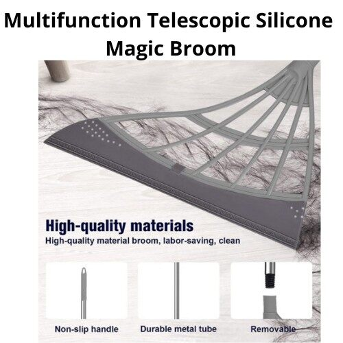 Best Selling [ Local Ready Stock ] Multifunctional Magic Broom Household Floor Cleaning Broom Remove Dirt and Hair Silicone Broom