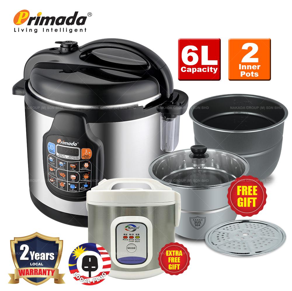 Primada 6 Liter Dual Pots Pressure Cooker PC6030(1 NS POT+FREE 1 SS POT+1 STEAM RACK+1 MINI RICE COOKER) PC6030 FREE 6005B+FG022