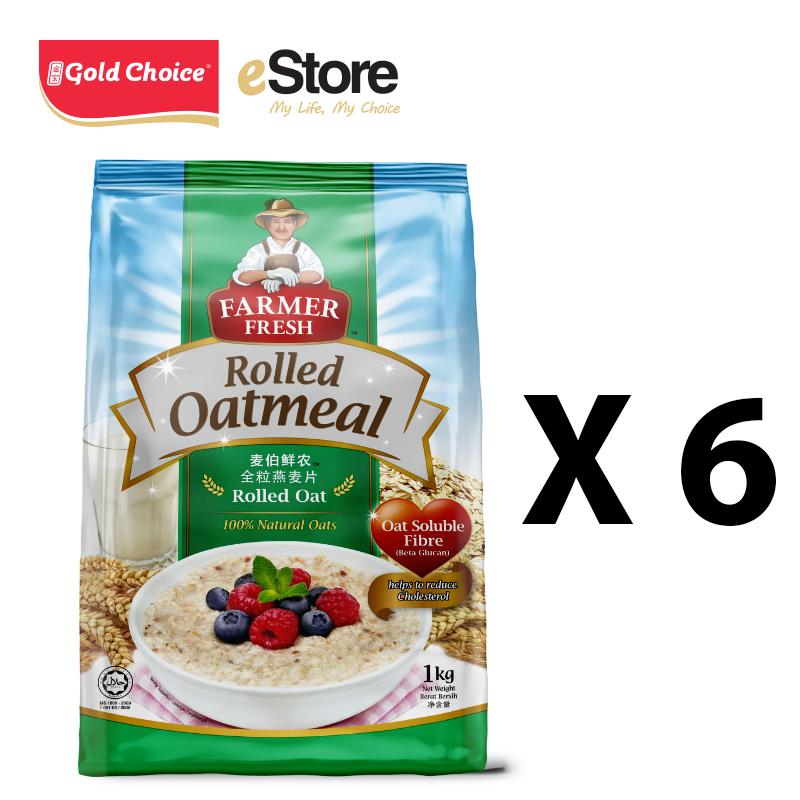 FARMER FRESH Oatmeal Rolled Oats - 1kg X 6 Packs [Oat]