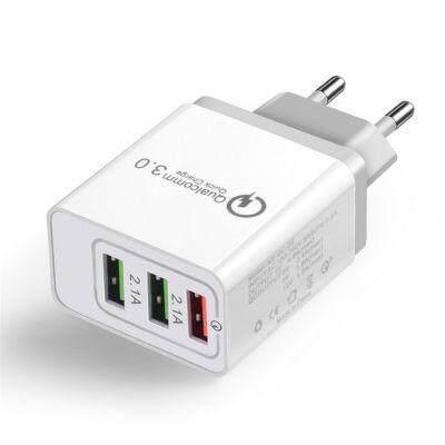 18W 3 USB Ports QC 3.0 Power EU Plug Quick Adapter Charge (WHITE)