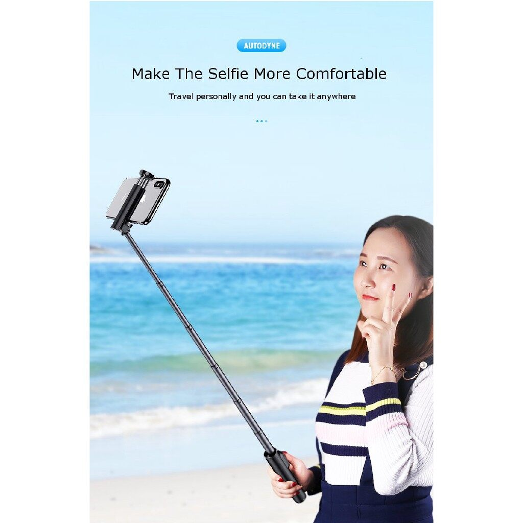 Phone Holder & Stand - 3 in 1 MINI Extended BLUETOOTH Tripod Selfie Stick Live Bracket for iPh X XS - BLACK / RED