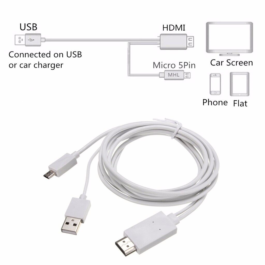 Mobile Cable & Chargers - 1080P Micro 11pins USB 5pins MHL Cable Kit To HDMI Adapter For Samsung Sony - BLACK / WHITE