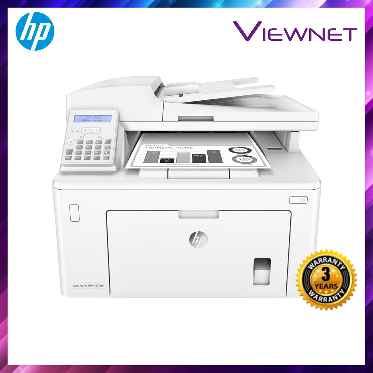 HP LaserJet Pro MFP M227fdn PRINT SCAN COPY FAX NETWORK 3 Years Onsite Warranty with 1-to-1 Unit exchange **NEED TO ONLINE REGISTER**