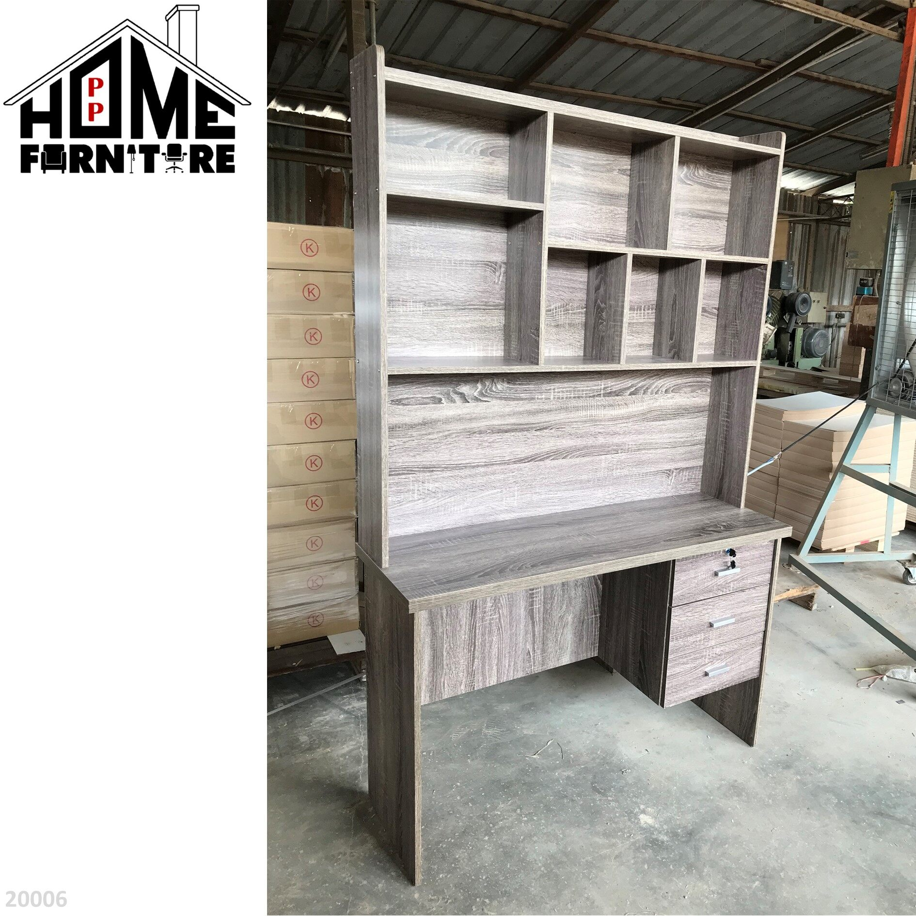 PP HOME Study Table with shelf & locker drawer/Writing table/Working table /PC table/ Student table/Home office table/Multipurpose table/Desk/Computer table/Destop/laptop/Meja belajar/Meja tulis/Meja kerja/komputer电脑桌/书桌/工作桌/读书桌/办公桌20006 1/2