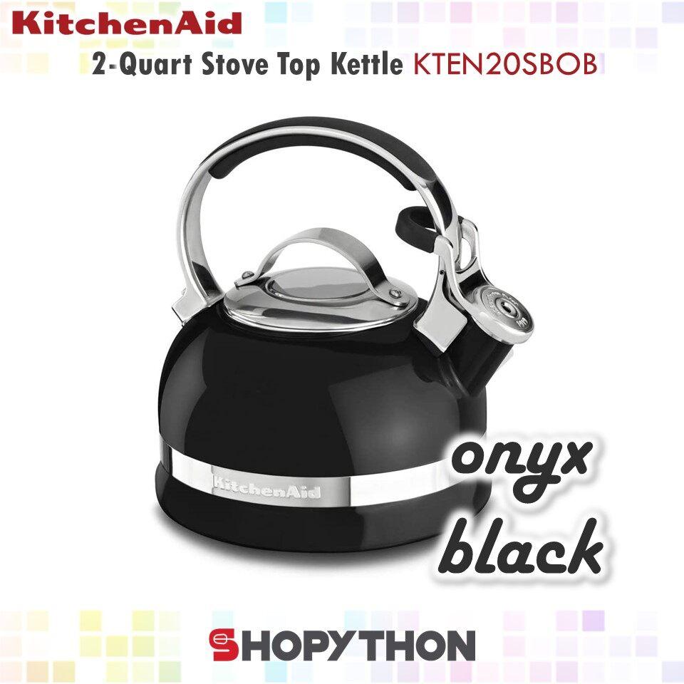 KitchenAid 2-Quart Stove Top Kettle KTEN20SBOB (Onyx Black) 1.9L Porcelain Enamel with Stainless Steel Full Trim Handle