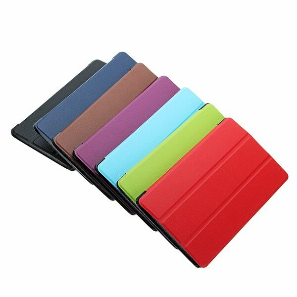 Phone Holder & Stand - Triple folded Case cover for Lenovo P8 TB-8703F Lenovo Tab 3 8 Plus - LIGHT BLUE / LIGHT GREEN / BROWN / DARK BLUE / PURPLE / BLACK / RED