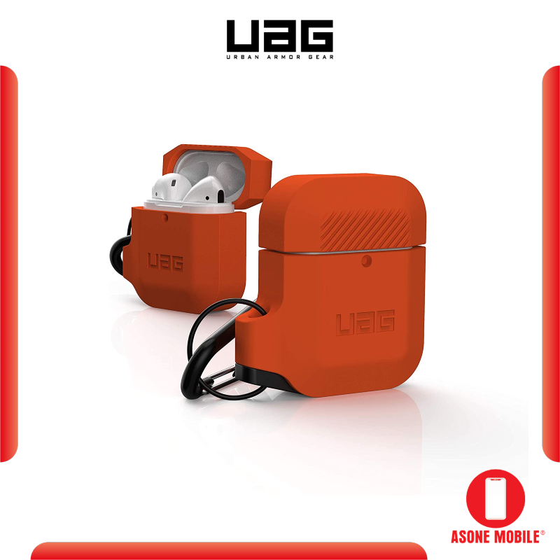 Original UAG Silicone AirPods (1st Gen & 2nd Gen) Full-Body Protective Rugged Water Resistant Soft-Touch Silicone Case with Detachable Carabiner