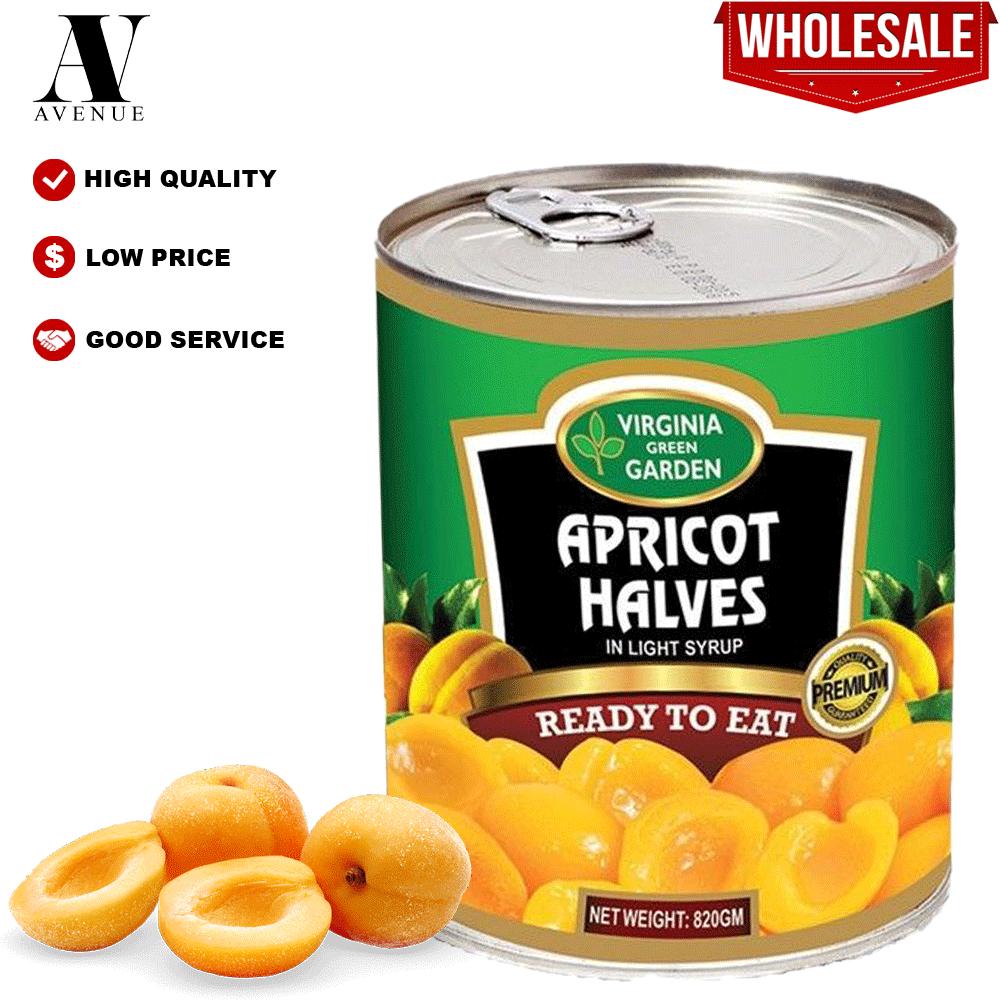 Virginia Green Garden Apricot Halves in Light Syrup 820g أنصاف مشمش في شراب خفيف