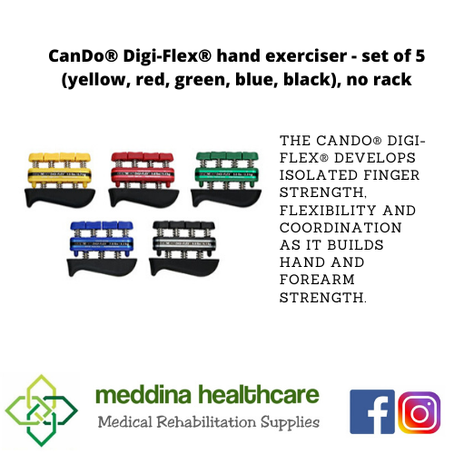 (CANDO BRAND) hand exerciser - set of 5 (yellow, red, green, blue, black), no rack