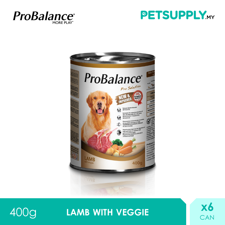 ProBalance 400G Lamb Pro Selection Adult Wet Dog Food X 6 Cans [PETSUPPLY.MY]