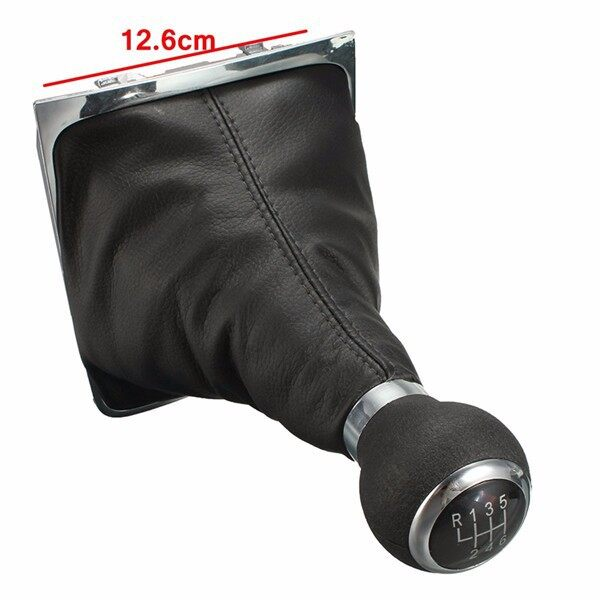 Engine Parts - 6 Speed Shift Stick Boot Gear Gaiter Frame Black Leather For VW PASSAT B6 B7 CC - Car Replacement