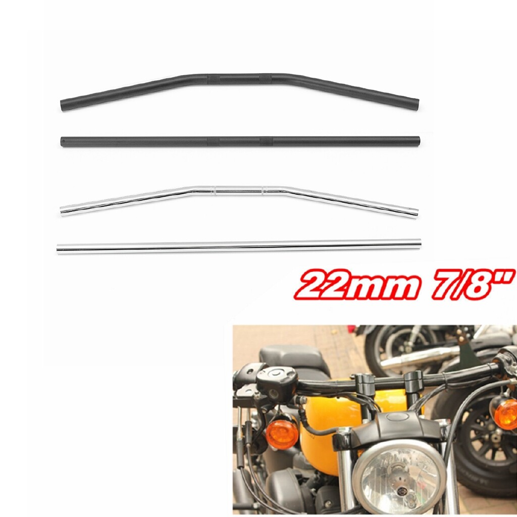 Moto Accessories - 800mm Drag Bar Handlebar For 22mm 7/8 inch Universal Motorcycle Yamaha/Suzuki - CURVED PLATING / CURVED BLACK / STRAIGHT PLATING / STRAIGHT BLACK