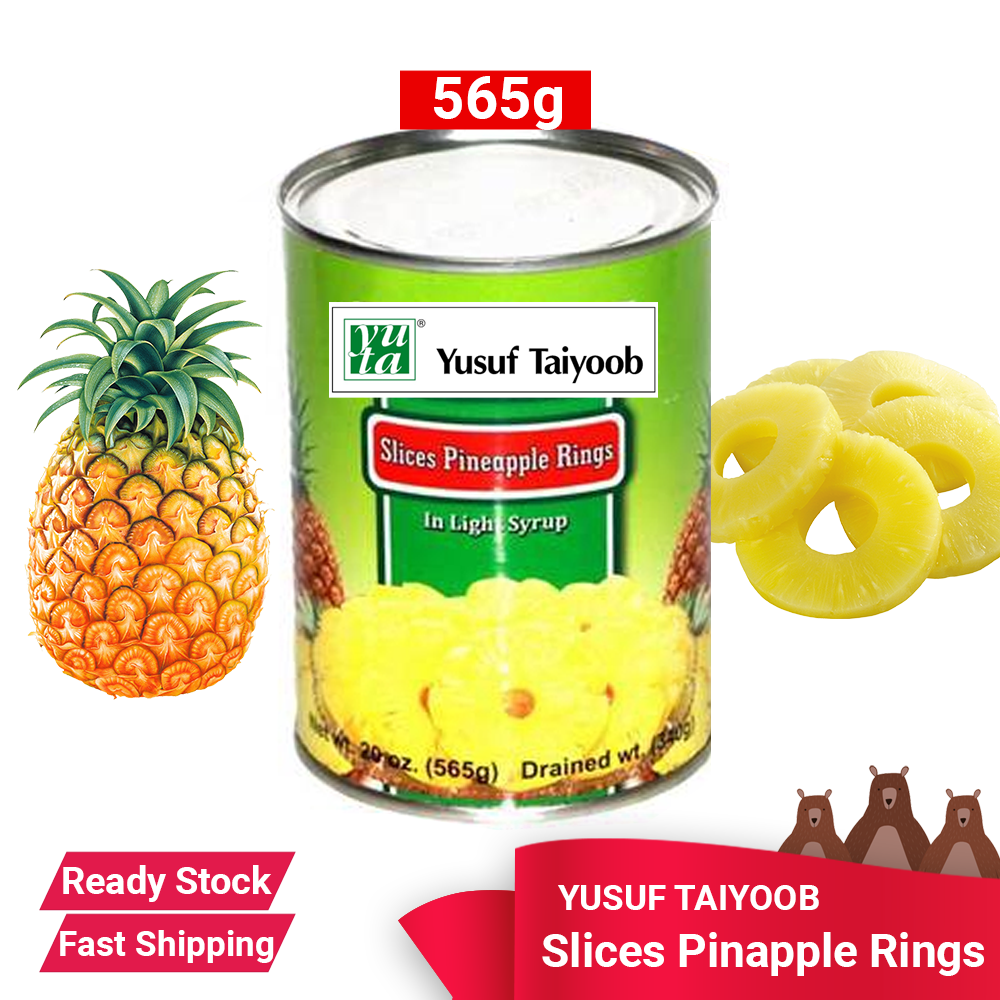 YUSUF TAIYOOB SLICED PINEAPPLE RINGS 565G READY STOCK - FAST SHIPPING Canned Dessert drink food, garnishing juice salad