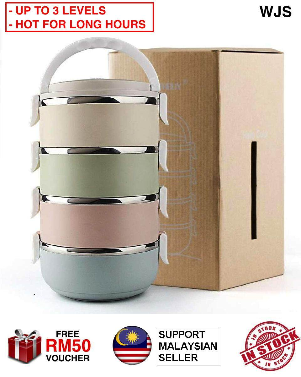 (UPGRADED THERMAL VERSION) WJS Multicolor 2, 3 or 4 Tier 304 Stainless Steel Lunch Box Container Tapao Lunch Container Food Box Food Container Food Storage Lunch Bag MULTICOLOR MULTILEVEL [FREE RM 50 VOUCHER]