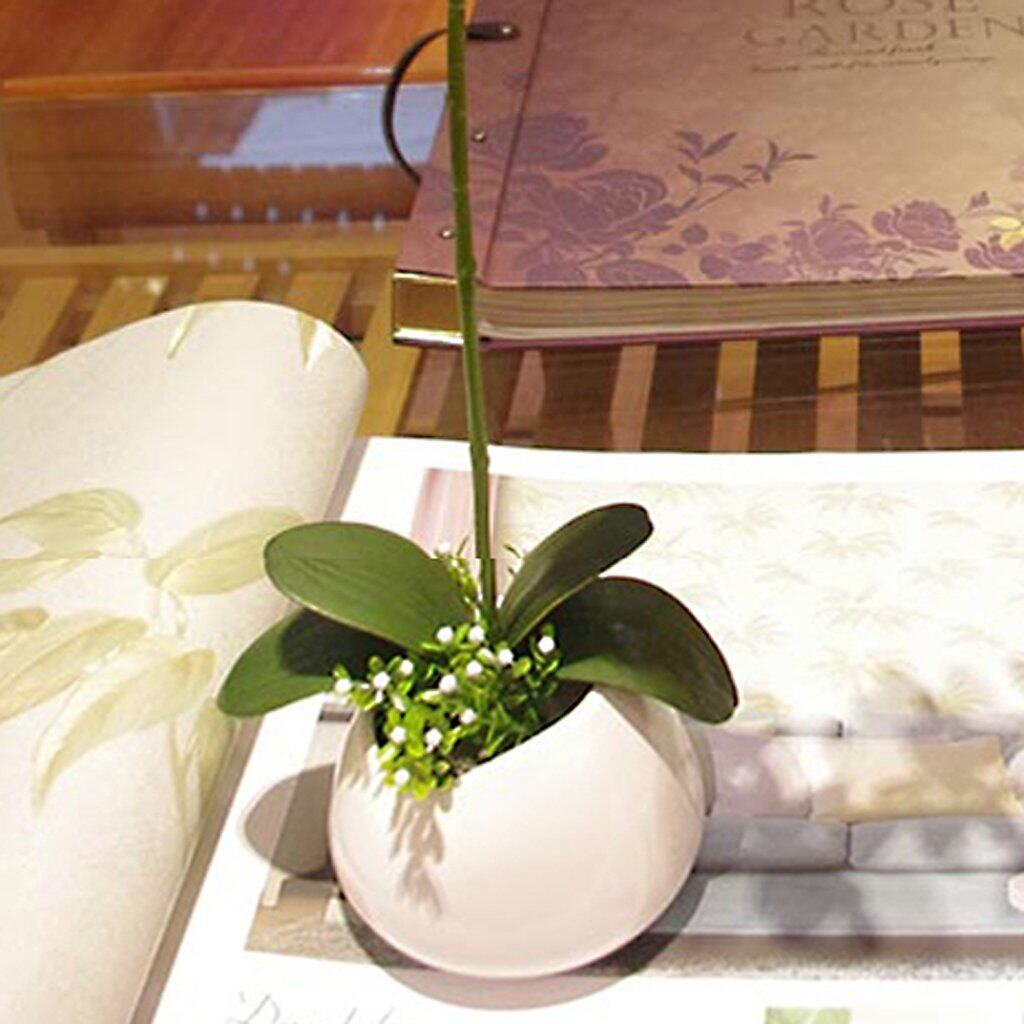 1 Branch Artificial Butterfly Orchid Leaf Bush Simulation Grass Home Decoration Green