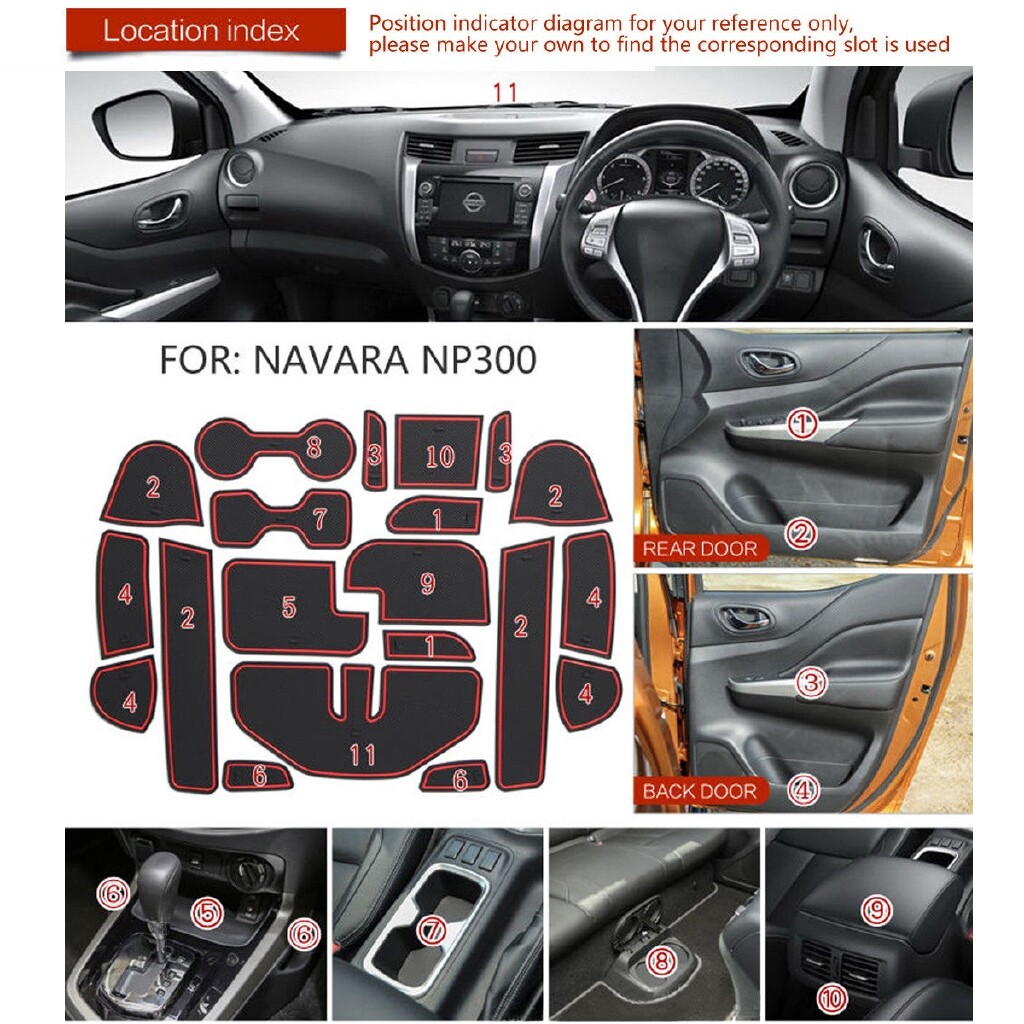 Car Accessories - For Nissan Navara NP300 D23 2015- Rubber Gate Slot Pad Cup Holder Mats-Red - Automotive
