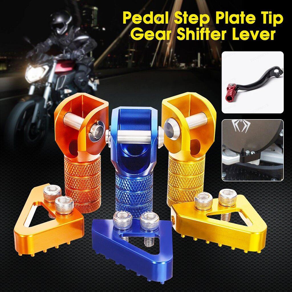 Moto Accessories - CNC Rear Brake Pedal Step Plate Tip + Gear Shifter Shift Lever For KTM 125 - 530 - GOLD / DARK ORANGE / BLUE