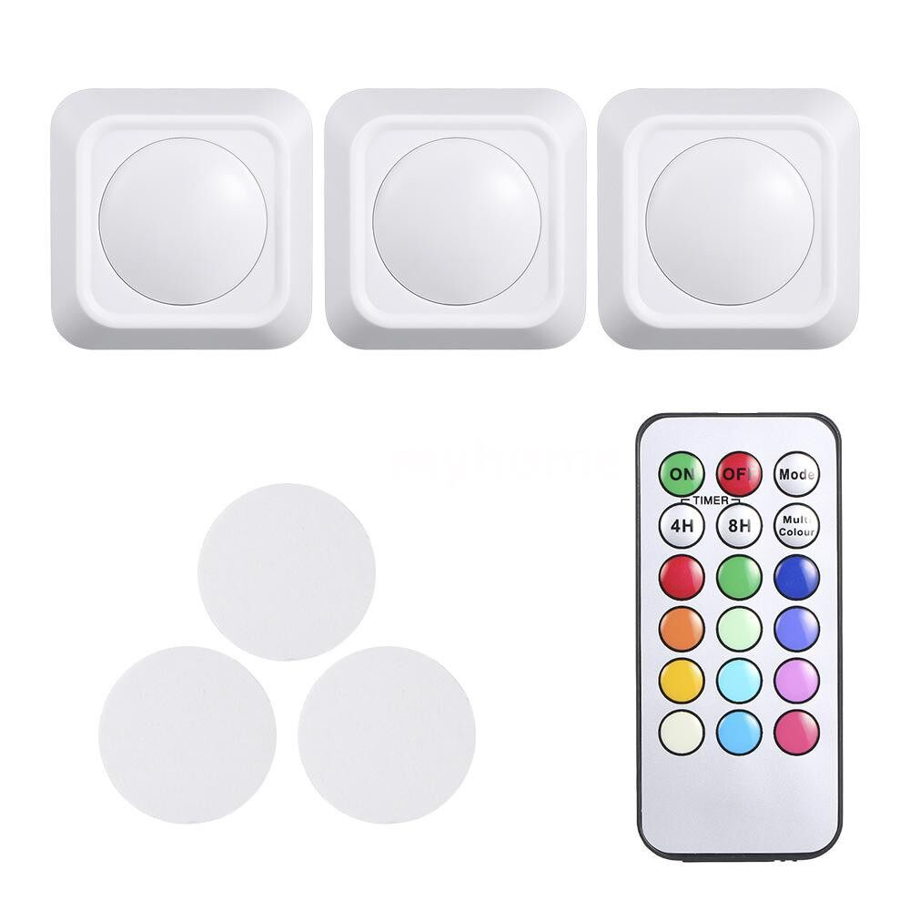 Lighting - 4.5V 1W RGB Color Changing LED Puck Lights 3 Pack Battery Powered Operated with Remote Control - WHITE