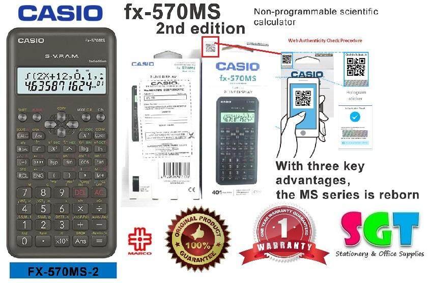 Casio Scientific Calculator FX-570MS (2nd Edition) 1 Year Warranty 100% Original