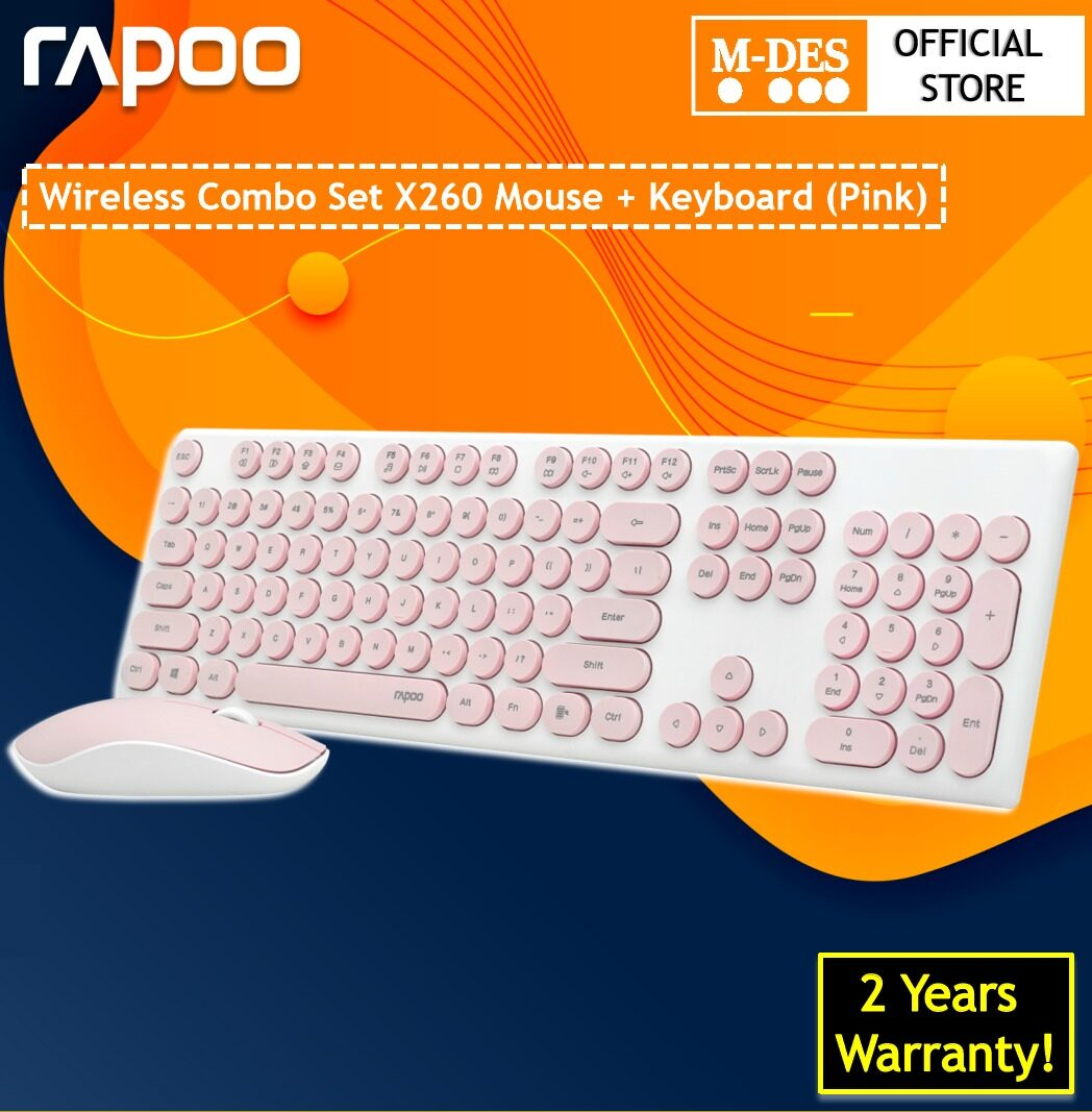 Rapoo X260 Wireless 2.4G Keyboard & Mouse Combo ( Black / Pink )