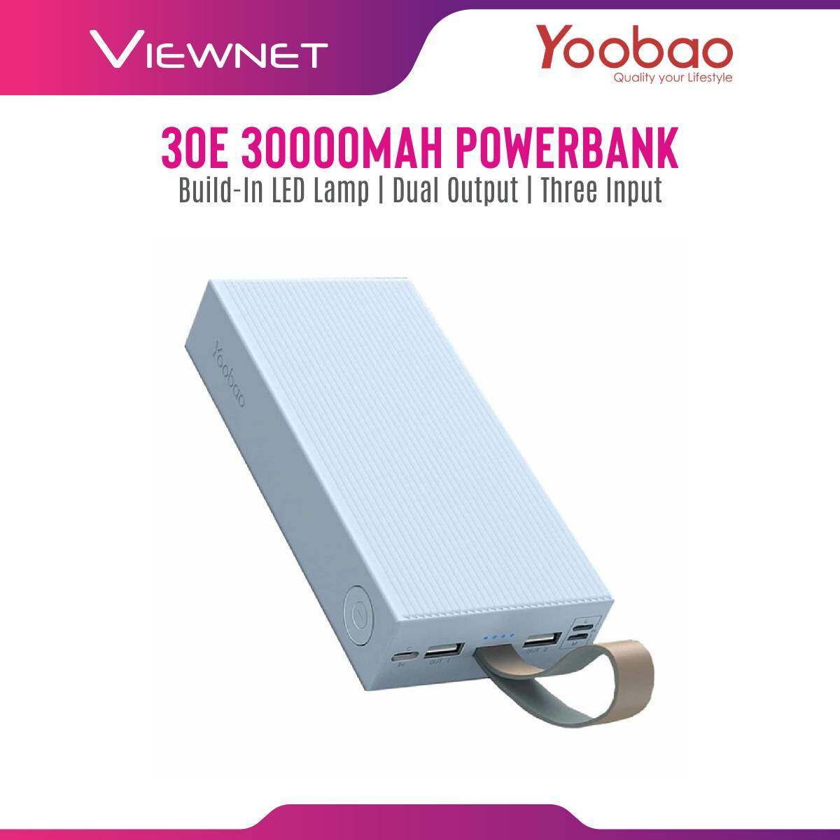 Yoobao 30E 30000mAh Fast Charge 2.1A Portable Power Bank With Build-In LED Lamp Dual Output Three Input