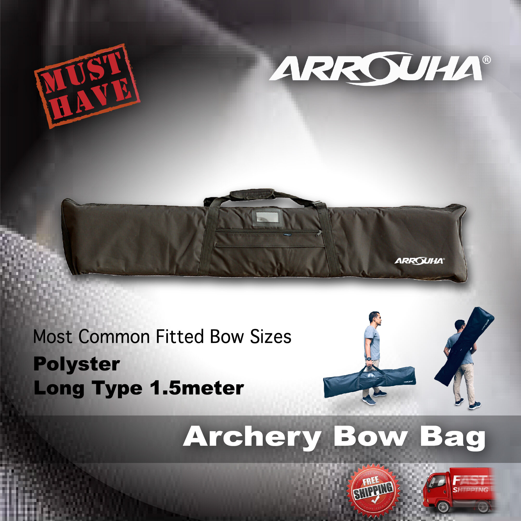 Archery Bow Bag Quality Polyster Long Type Most Common Fitted Bow Size Traditional or Recurve Long Bow by Arrouha
