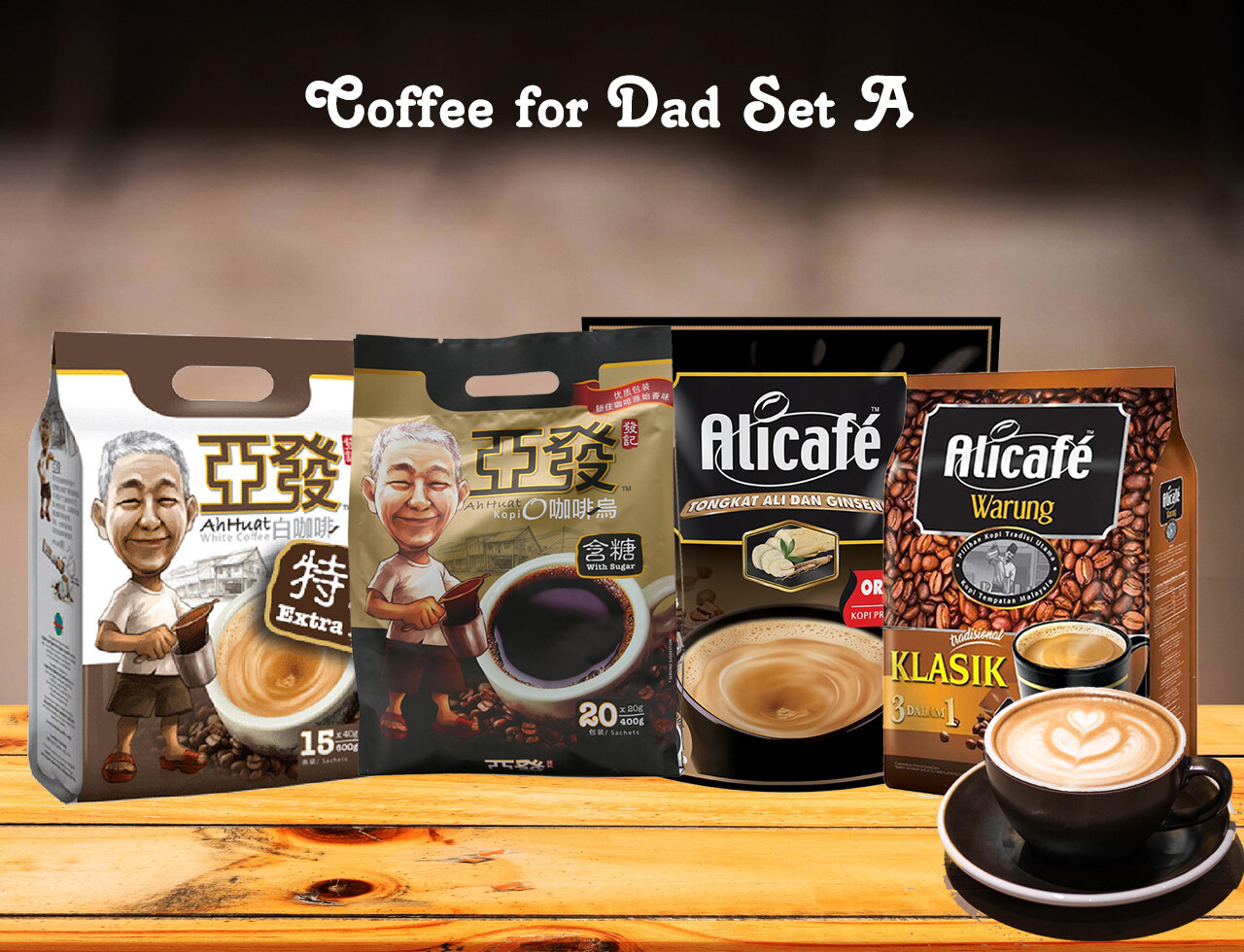 Coffee for Dad (Alicafe Tongkat Ali dan Ginseng Original Premixed Coffee / Alicafe Warung / Ah Huat Kopi O / Ah Huat White Coffee Gold Medal / Ah Huat White Coffee Extra Rich / Ah Huat White Coffee Smooth )
