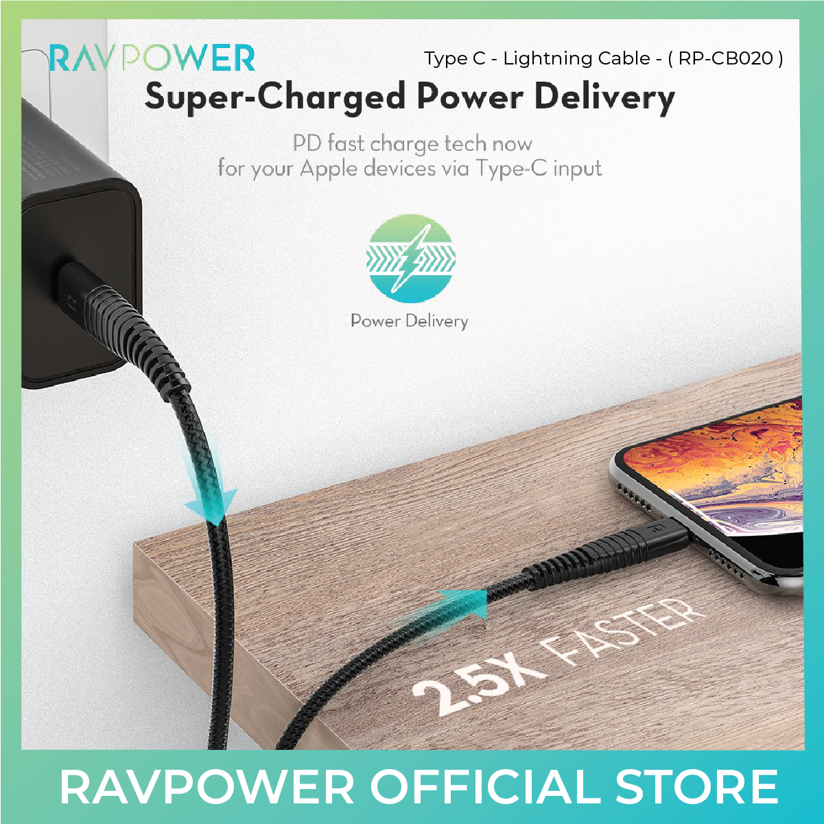 RAVPower Type C - Lightning Cable for iPhone (RP-CB020) - 3.3 Ft