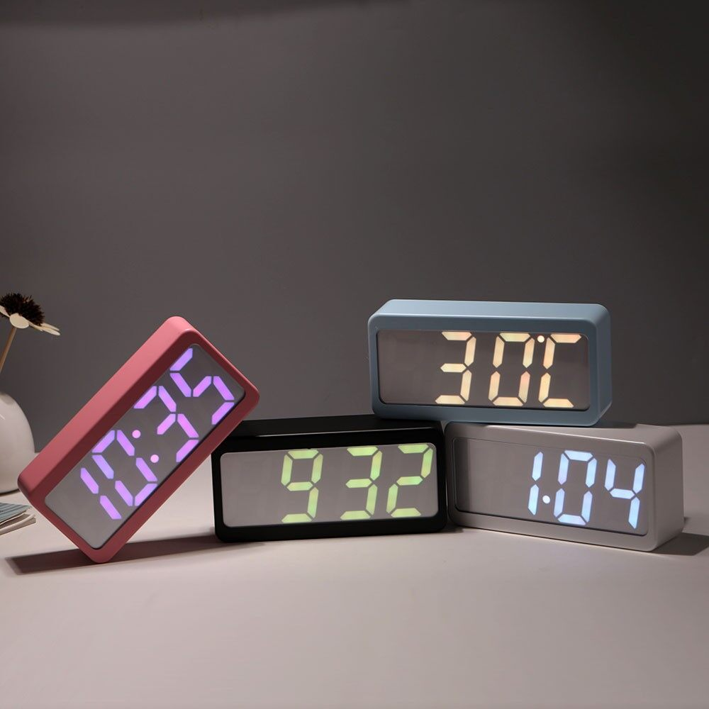 Clocks - USB/Battery Powered Digital RGB LED Alarm Clock Time/Temperature/Date Display 11 - PINK / BLUE / BLACK / WHITE